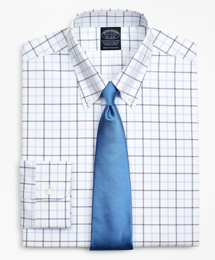 Stretch Big & Tall Dress Shirt, Non-Iron Poplin Button-Down Collar Double-Grid Check