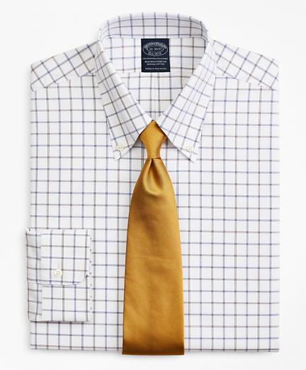 Stretch Big & Tall Dress Shirt, Non-Iron Poplin Button-Down Collar Double-Grid Check