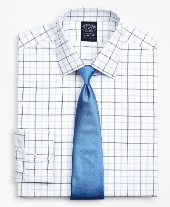 Stretch Big & Tall Dress Shirt, Non-Iron Poplin Ainsley Collar Double-Grid Check Blue