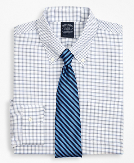 Stretch Big & Tall Dress Shirt, Non-Iron Poplin Button-Down Collar Small Grid Check