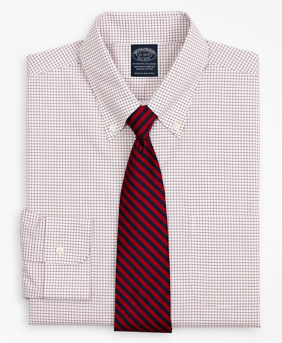 Stretch Big & Tall Dress Shirt, Non-Iron Poplin Button-Down Collar Small Grid Check Red