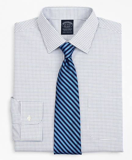 Stretch Big & Tall Dress Shirt, Non-Iron Poplin Ainsley Collar Small Grid Check