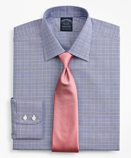 Stretch Big & Tall Dress Shirt, Non-Iron Royal Oxford Ainsley Collar Glen Plaid