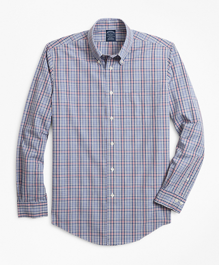 Non-Iron Big & Tall Heathered Check Sport Shirt