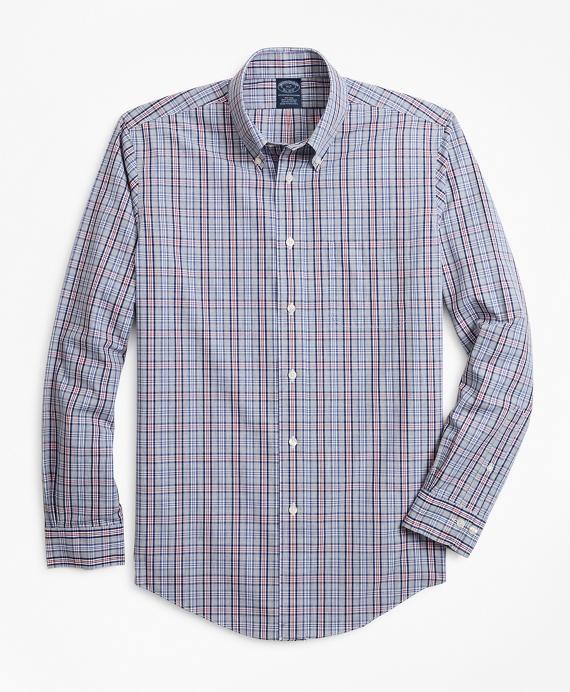 Non-Iron Big & Tall Heathered Check Sport Shirt Grey