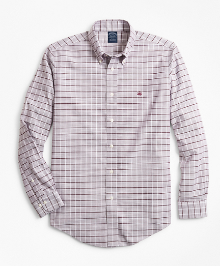 Non-Iron Big & Tall Windowpane Slub Oxford Sport Shirt