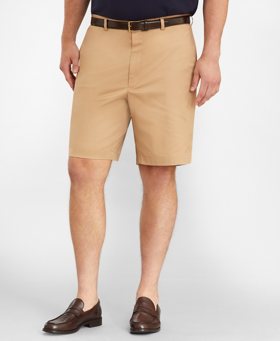 Big & Tall Flat Front Stretch Advantage Chino Shorts British Khaki