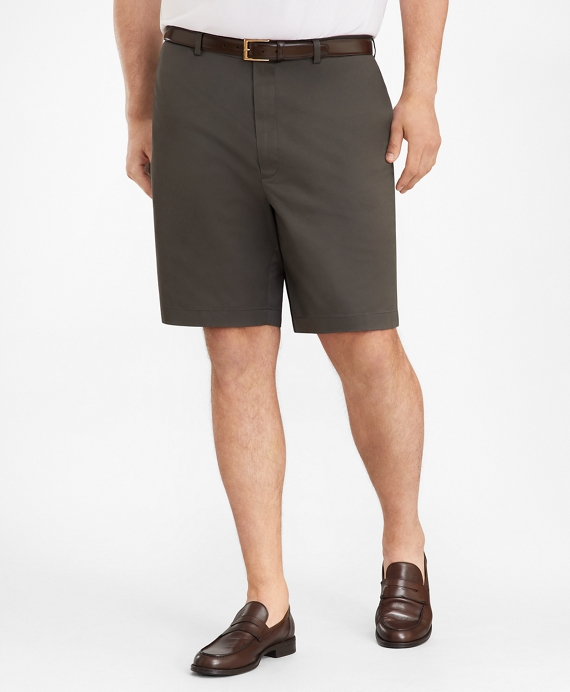 Big & Tall Flat Front Stretch Advantage Chino Shorts Grey