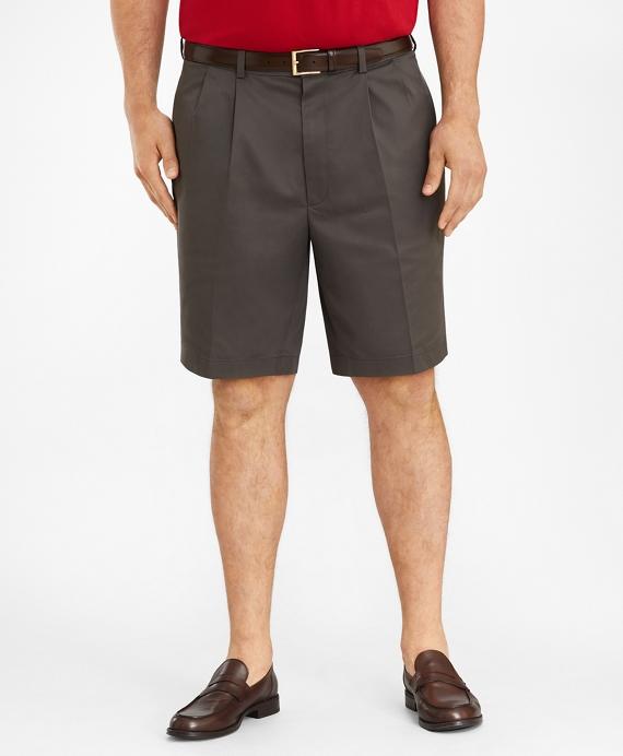 Big & Tall Pleat Front Stretch Advantage Chino Shorts Grey
