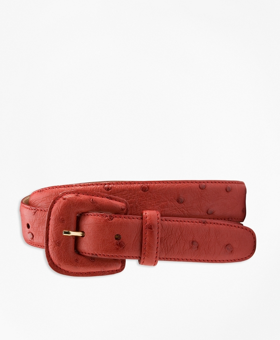Covered-Buckle Ostrich Belt Red