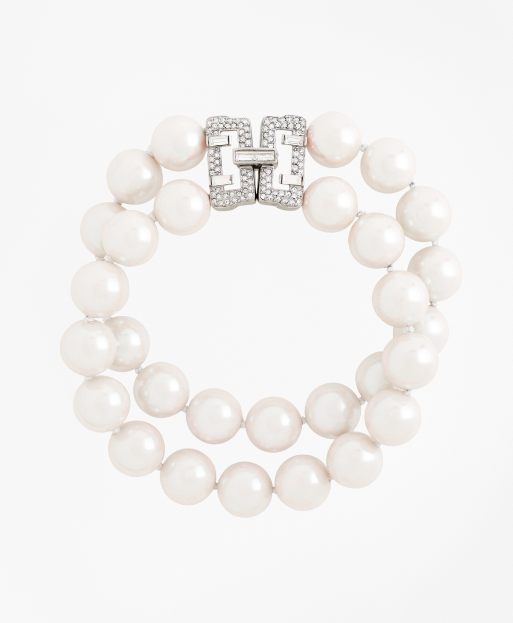 1930s Jewelry | Art Deco Style Jewelry Brooks Brothers Womens Double-Strand Glass Pearl Bracelet $298.00 AT vintagedancer.com