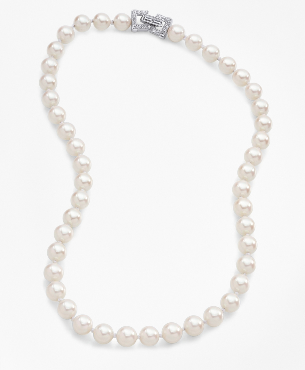 1920s Jewelry Styles History Brooks Brothers Womens Glass Pearl Necklace $298.00 AT vintagedancer.com
