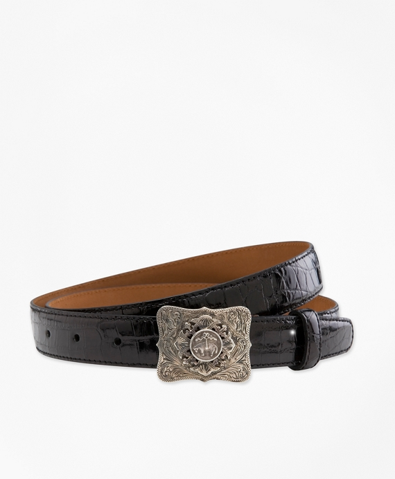 Alligator Belt with Sterling Buckle Black